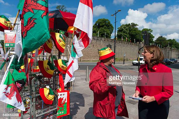 Leanne Wood leader of Plaid Cymru speaks to a street seller during a rally with Alex Salmond MP former First Minister of Scotland at the Aneurin...