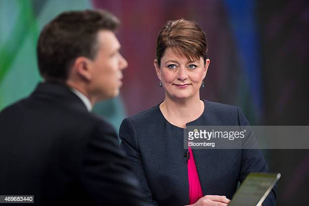 Leanne Wood leader of Welsh nationalist party Plaid Cymru right pauses during a Bloomberg Television interview in London UK on Tuesday April 14 2015...