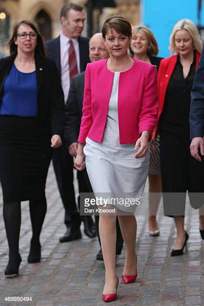 Leanne Wood of Plaid Cymru arrives at Methodist Central Hall ahead of the Live TV debate on April 16 2015 in London England Labour leader Ed Miliband...