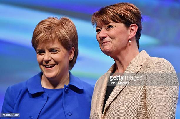 Leanne Wood the Plaid Cymru leader acknowledges applause from Nicola Sturgeon following her address during the 81st annual SNP conference at the...