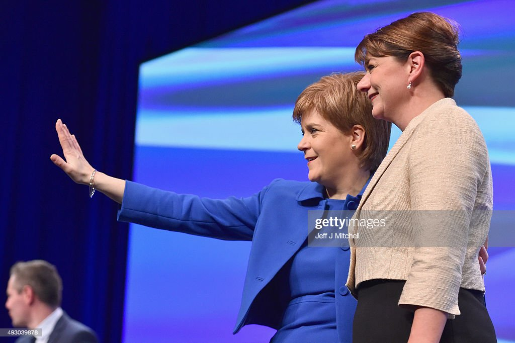 Leanne Wood, the Plaid Cymru leader acknowledges applause from Nicola Sturgeon following her address to the 81st annual SNP conference at the Aberdeen Exhibition and Conference Centre on October 17, 2015 in Aberdeen, Scotland. Leanne Wood told delegates at the SNP conference in Aberdeen today that Wales needs to learn lessons from Scotland as she attacked Labours record.