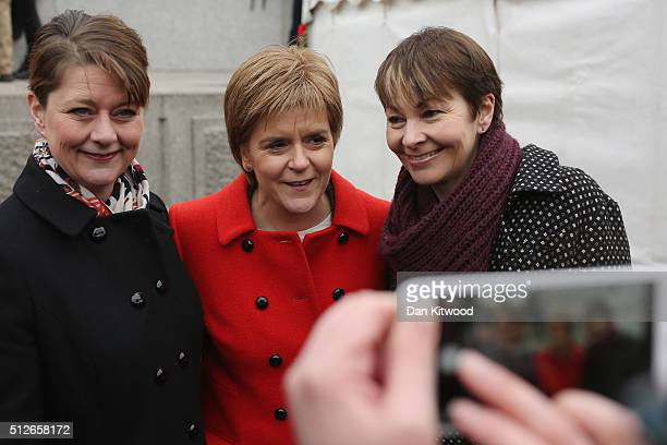Leanne Wood the Plaid Cymru leader Scottish First Minister Nicola Sturgeon and Green Party member of parliament Caroline Lucas pose for a photograph...