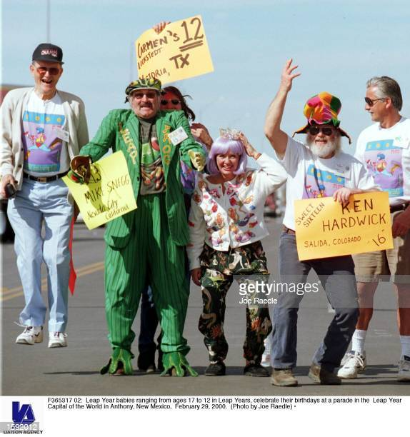 Leap Year babies ranging from ages 17 to 12 in Leap Years celebrate their birthdays at a parade in the Leap Year Capital of the World in Anthony New...