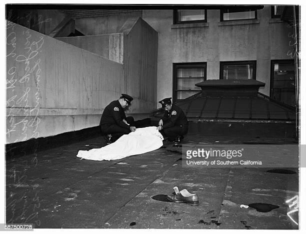 Leaper at 510 West 6th Street Body of leaper D Lamont Greene 50 years Pan shot of building Robert Hines Dick Turpin Sergeant WC Stevens Jack...