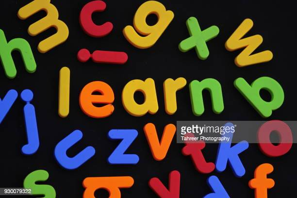 learn written by toy blocks - the_writer's_block stock pictures, royalty-free photos & images