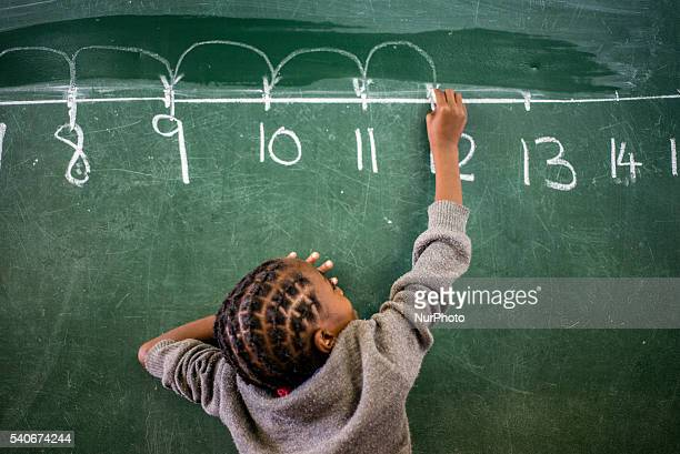 A learner of the second grade counts with the number line during Mathematic lesson at Eluwa Special School in Ongwediva Namibia Tuesday June 14 2016