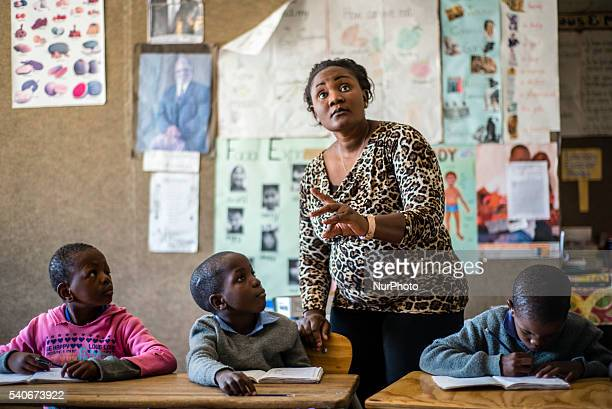 Learners of the first grade for hearing impaired children have their mathematic lesson at Eluwa Special School in Ongwediva Namibia Tuesday June 14...