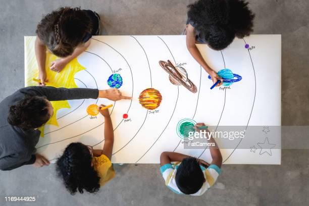 aprendendo sobre o sistema solar - orbiting - fotografias e filmes do acervo