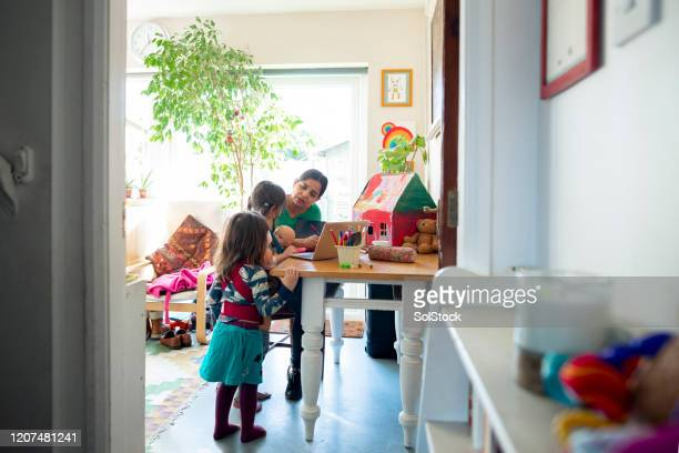 learning about their mother's job - work from home stock pictures, royalty-free photos & images