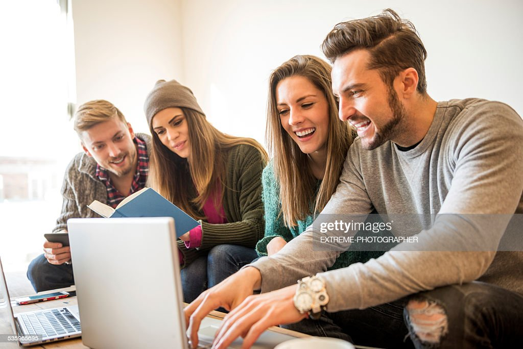 Learning group of students : Stock Photo