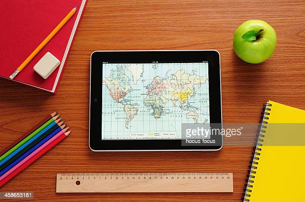 learning history with ipad - physical geography stock pictures, royalty-free photos & images