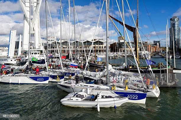 learning to sail in portsmouth - spinnaker tower stock photos and pictures