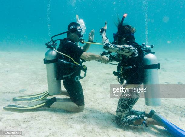 Learning to scuba dive - the out of air drill