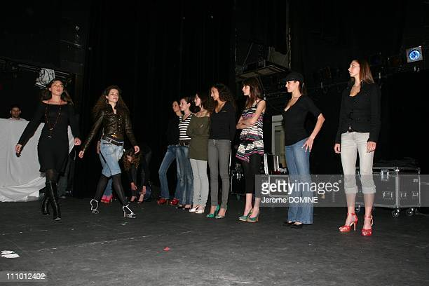 Learning to walk for fashion shows During a weekend 10 women and 10 men are competing for the title of top model France 2007 in Paris France on March...