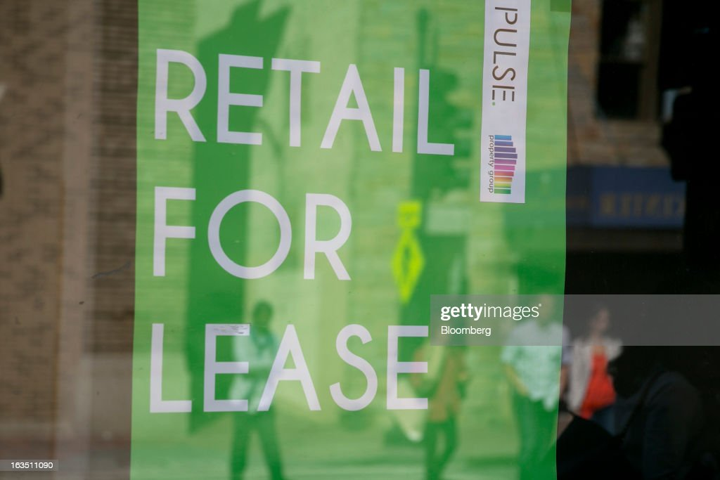 A lease sign is places inside an empty store in the Georgetown neighborhood of Washington, D.C., U.S., on Saturday, March 9, 2013. The U.S. Census Bureau is expected to release advance retail sales data for February on March 13. Photographer: Andrew Harrer/Bloomberg via Getty Images