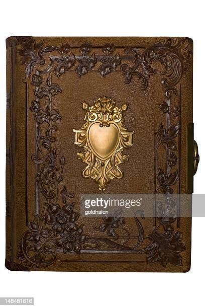 leather and gold art nouveau book - art nouveau stock pictures, royalty-free photos & images