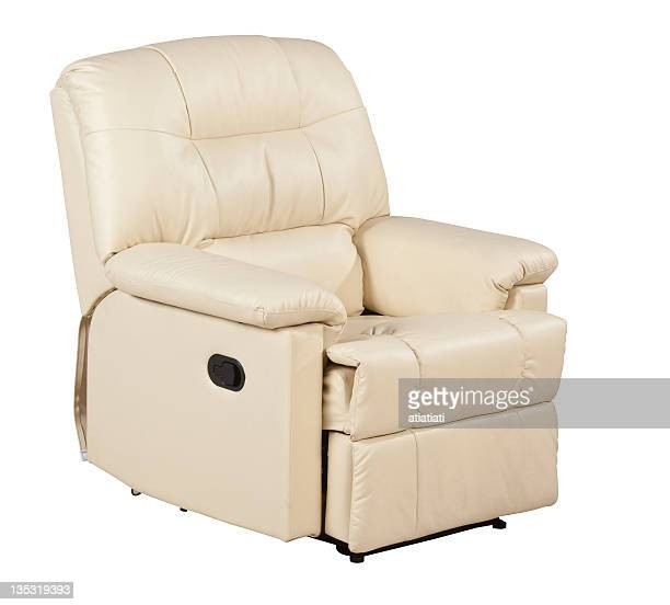 leather armchair with path - reclining chair stock photos and pictures