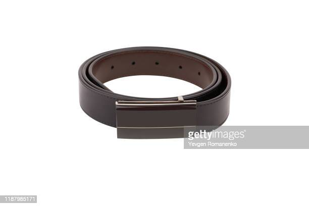 leather belt isolated on white background - brown belt stock pictures, royalty-free photos & images