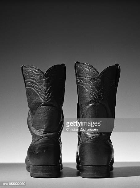 leather boots, close-up, b&w - black boot stock pictures, royalty-free photos & images