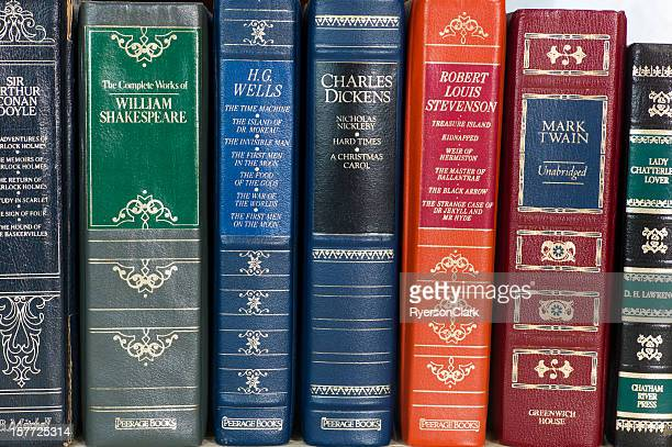 leather bound books. - william shakespeare stock photos and pictures