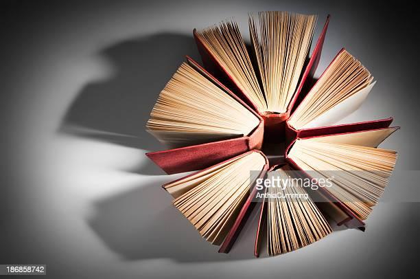 De livres reliés en cuir face formant un cercle