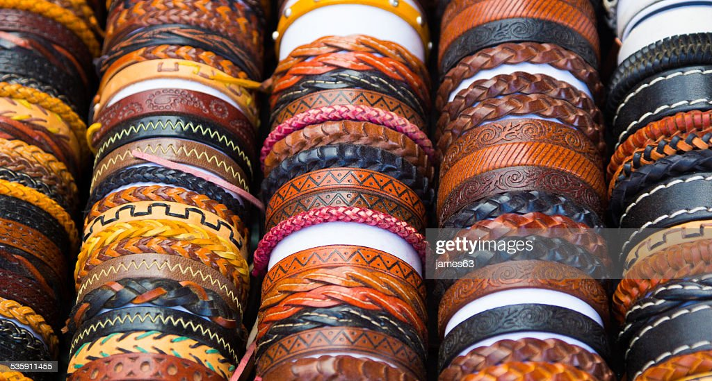 leather bracelets with different shapes and colors : Stock Photo