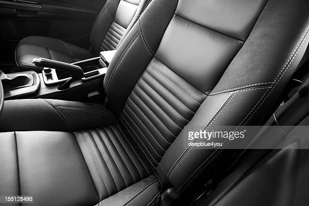 leather car seats close up