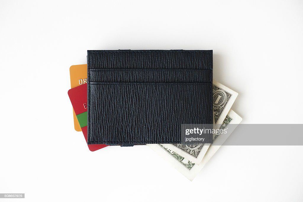 leather credit card wallet with money : Stock Photo
