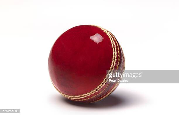 Leather cricket ball with copy space