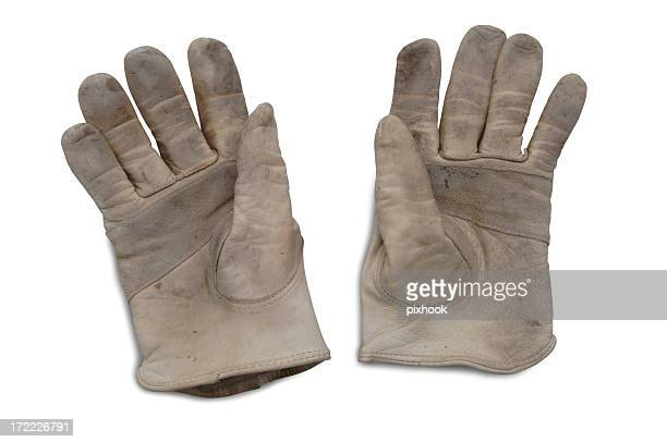leather gloves with paths - work glove stock photos and pictures