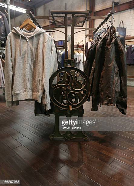 Leather goods on their custom made displaysas the UK fashion retailer AllSaints open a boutique at the Yorkdale Shopping Centre in Toronto