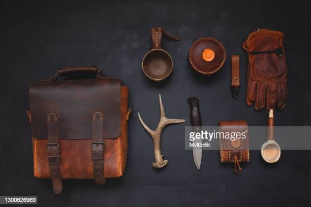 leather handmade bag and traveler equipment - personal accessory stock pictures, royalty-free photos & images