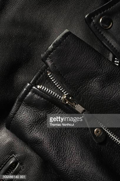 Leather jacket, close-up of zipper on sleeve