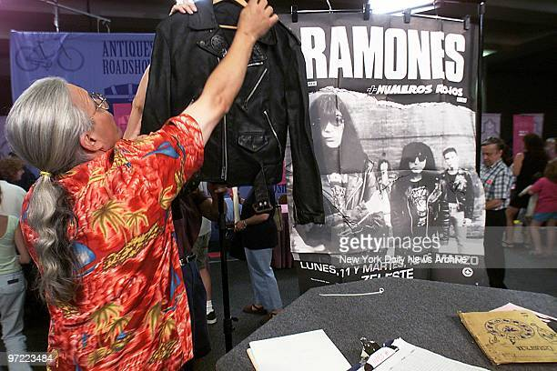 A leather jacket formerly owned by Dee Dee Ramone of the punkrock band The Ramones and a poster signed by the band are among the items people have...