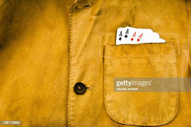 Leather Jacket with Aces in Pocket. Color Image
