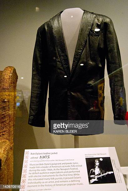 A leather jacket worn by musician Bob Dylan at the 1965 Newport Folk Festival is on display on April 11 2012at the Smithsonian Mueseum of American...