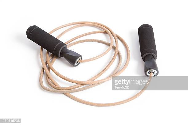 leather jump rope, exercise equipment on white - skipping rope stock pictures, royalty-free photos & images