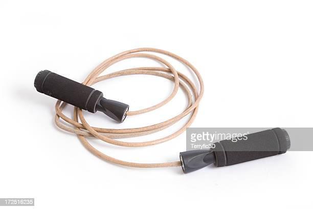 leather jump rope with black handles for exercise training - terryfic3d bildbanksfoton och bilder