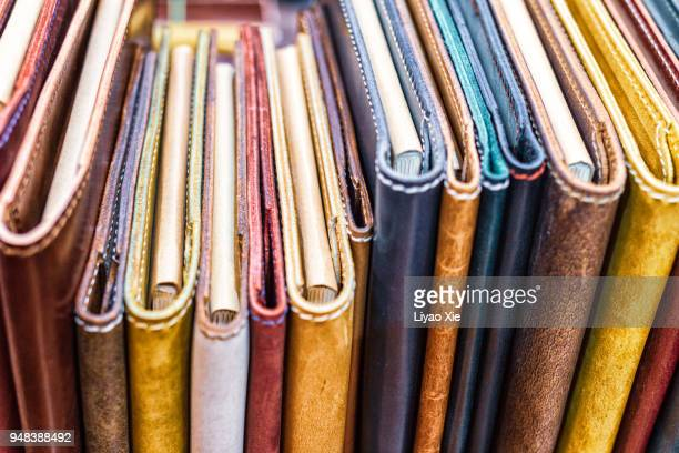 leather notebooks - handbook stock photos and pictures