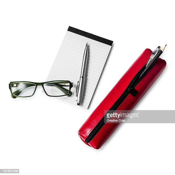 Leather pencil case and pencils with pad & glasses