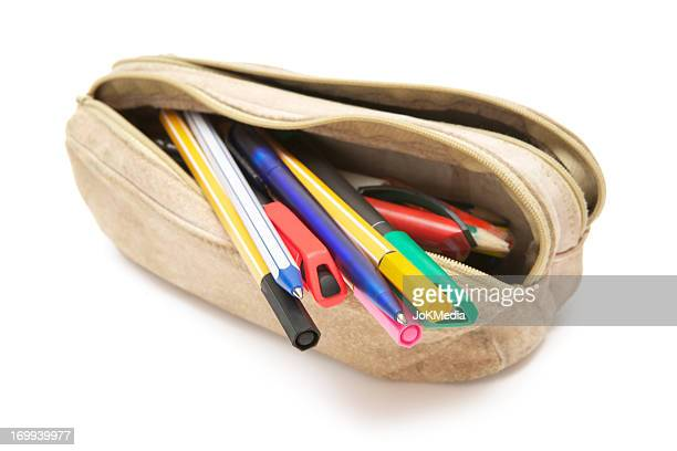 leather pencil case - ballpoint pen stock photos and pictures