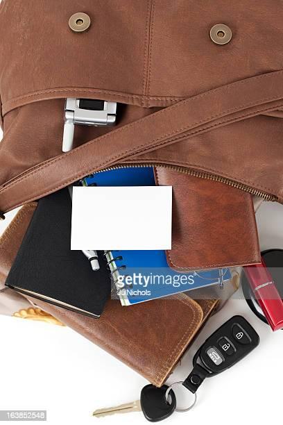 Leder Geldbörse mit leere Visitenkarte