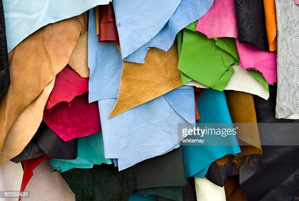 leather remnants - leather stock pictures, royalty-free photos & images