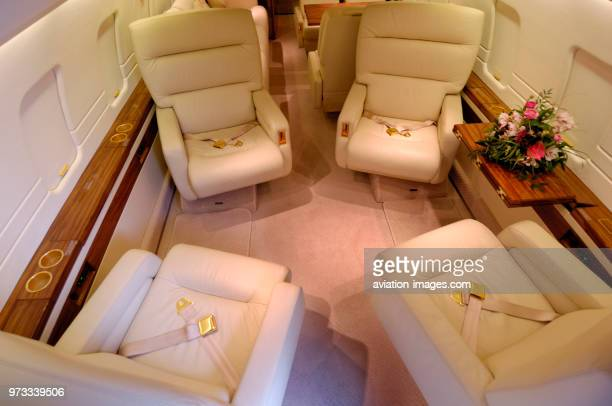 leather seats in the passenger cabin of a London Executive Aviation LEA Bombardier Challenger 604