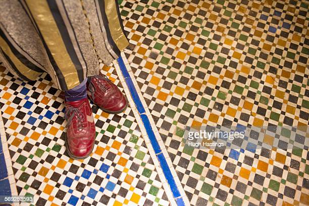 leather shoes and tiles, morocco - hugh hastings stock pictures, royalty-free photos & images