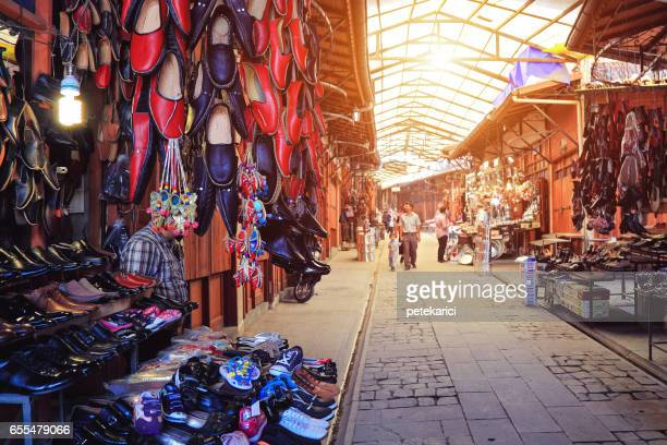 Leather shoes at bazaar in Gaziantep, Turkey
