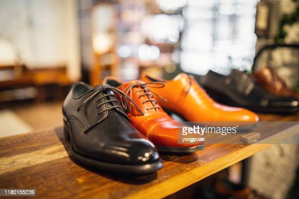 leather shoes in a store - leather shoe stock pictures, royalty-free photos & images
