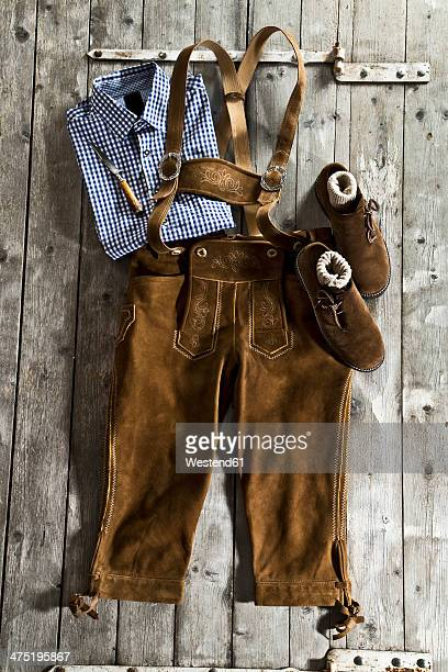 Leather trousers, traditional shirt and Haferlschuh, traditional Bavarian shoe