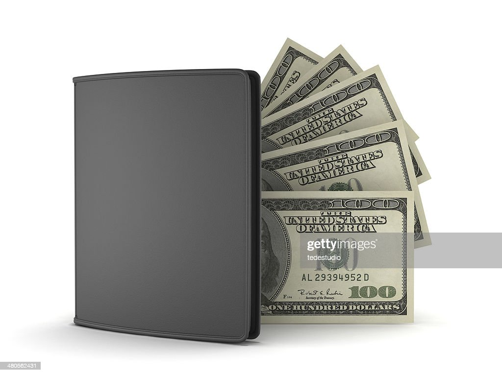Leather wallet and dollar bills on white background : Stock Photo