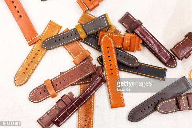 leather watchband - leather belt stock pictures, royalty-free photos & images